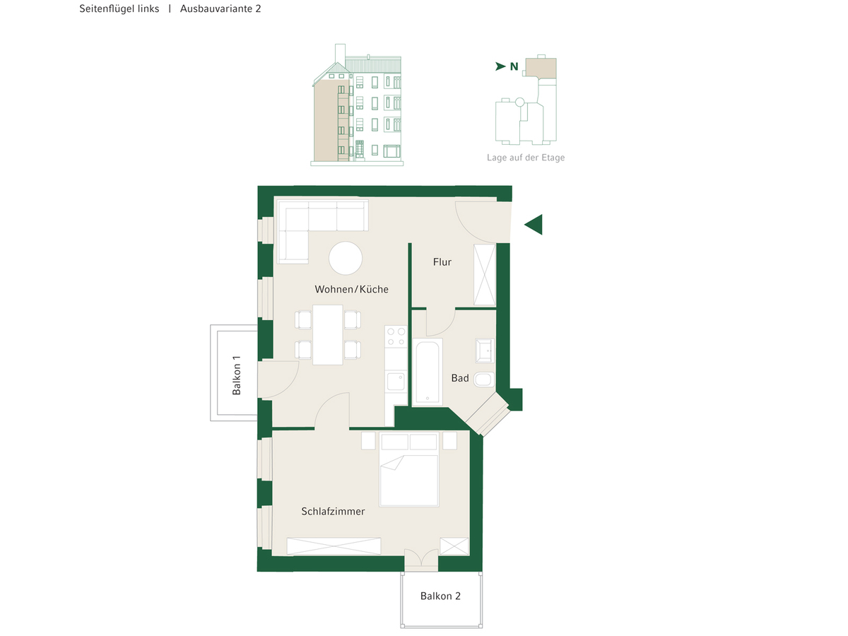 Floorplan Unit 09 configuration option 2 | Johannisberger Straße