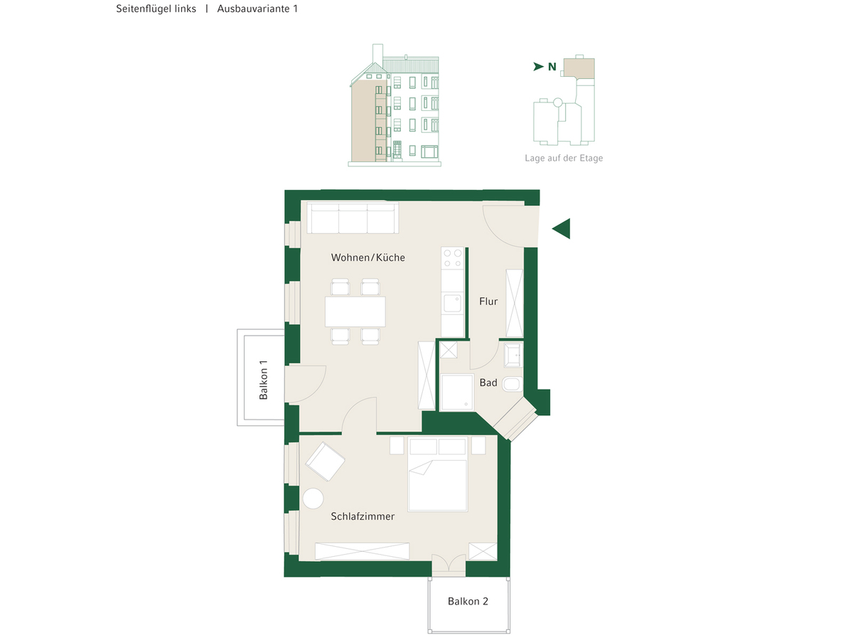 Floorplan Unit 11 configuration option 1 | Johannisberger Straße