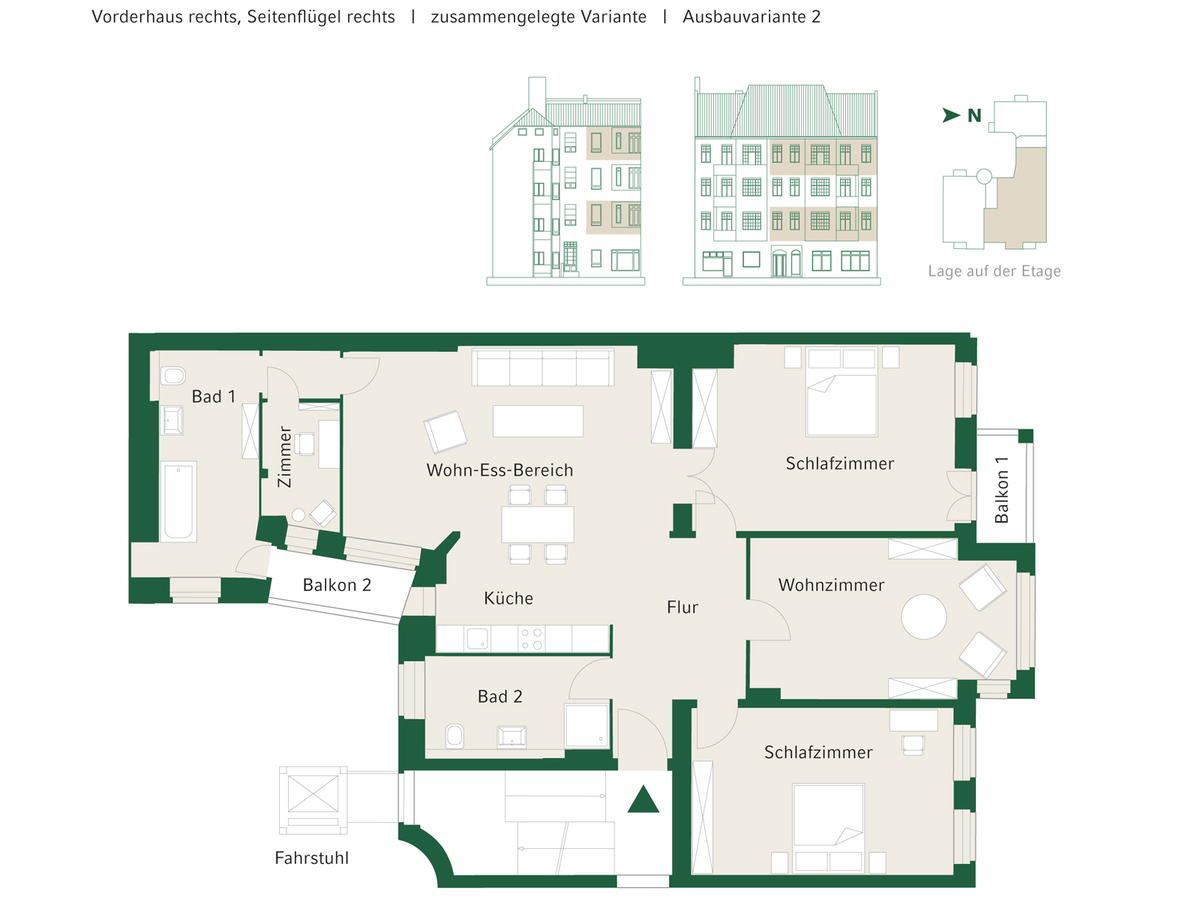 Floorplan Unit 07+13 configuration option 2 | Johannisberger Straße