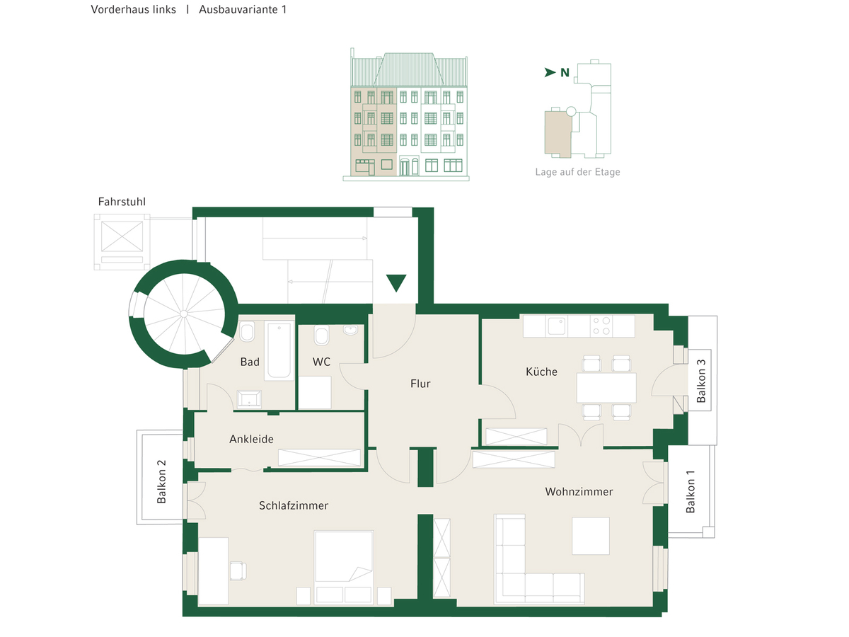 Floorplan Unit 04 configuration option 1 | Johannisberger Straße