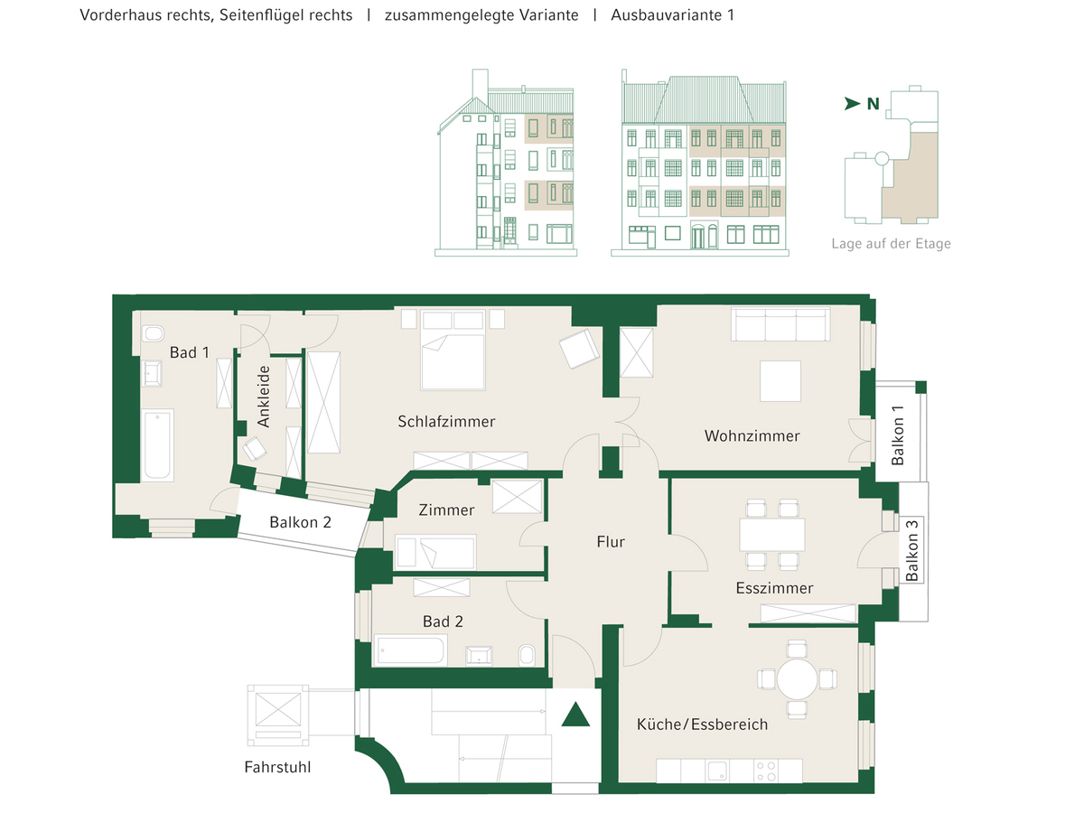 Floorplan Unit 07+13 configuration option 1 | Johannisberger Straße